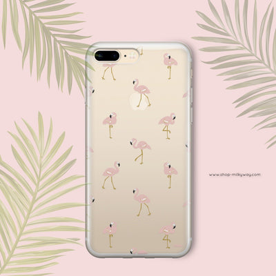 Chillin Flamingo' - Clear Case Cover - Milkyway Cases -  iPhone - Samsung - Clear Cut Silicone Phone Case Cover