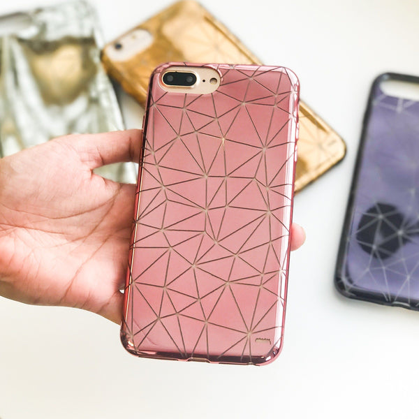 geometric chrome phone case