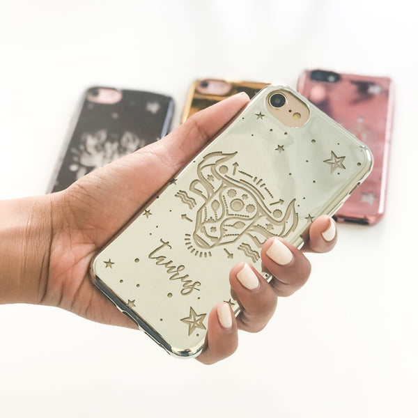 Chrome Shiny TPU Case - Taurus - Milkyway Cases -  iPhone - Samsung - Clear Cut Silicone Phone Case Cover