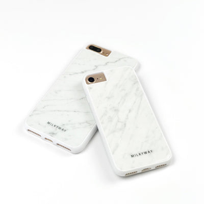 White Marble Phone Case - Milkyway Cases -  iPhone - Samsung - Clear Cut Silicone Phone Case Cover