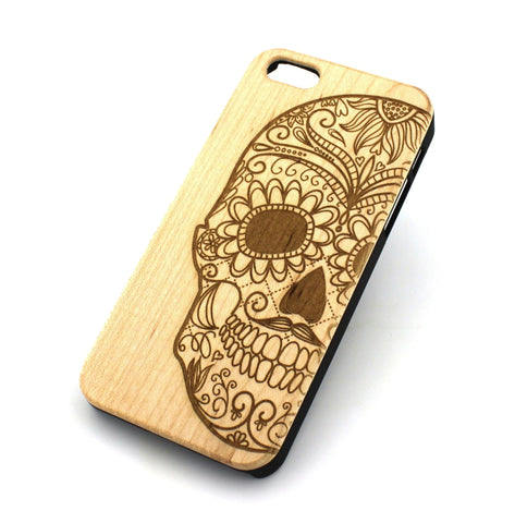 W126 Wood Case for APPLE IPHONE 5 5S Cover - HALF SUGAR SKULL DIA DE LOS MUERTOS