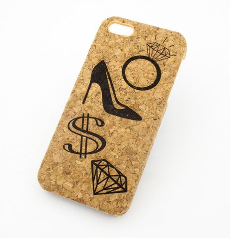 "Cork Case Snap On Cover  -  ""What Women Want"" (Diamond, Shoes, Engagement Ring, Money)"
