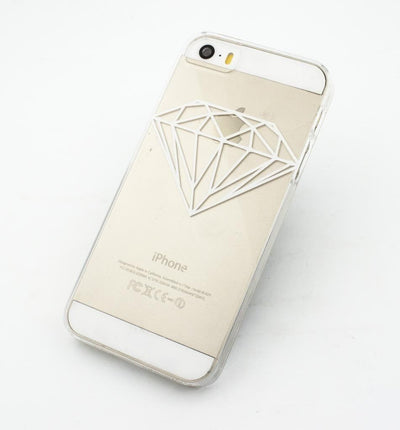 White Diamond - Clear TPU Case Cover - Milkyway Cases -  iPhone - Samsung - Clear Cut Silicone Phone Case Cover