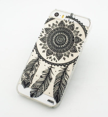 Black Henna Ojibwe Dreamcatcher - Clear TPU Case Cover