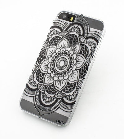Black Henna Full Mandala - Clear TPU Case Cover - Milkyway Cases -  iPhone - Samsung - Clear Cut Silicone Phone Case Cover
