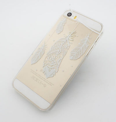 Henna Hanging Feathers - Clear TPU Case Cover Milkyway iPhone Samsung Clear Cute Silicone 8 Plus 7 X Cover