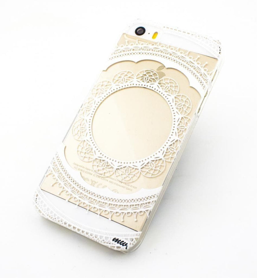 Floral Lace Mandala - Clear TPU Case Cover - Milkyway Cases -  iPhone - Samsung - Clear Cut Silicone Phone Case Cover