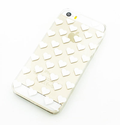Modern Mini Hearts - Clear TPU Case Cover - Milkyway Cases -  iPhone - Samsung - Clear Cut Silicone Phone Case Cover