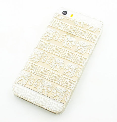 Henna Lotus Floral Elephant - Clear TPU Case Cover
