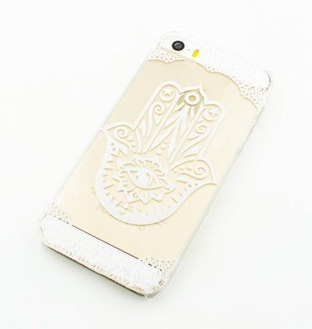 Henna Hamsa Hand of Fatima - Clear TPU Case Cover