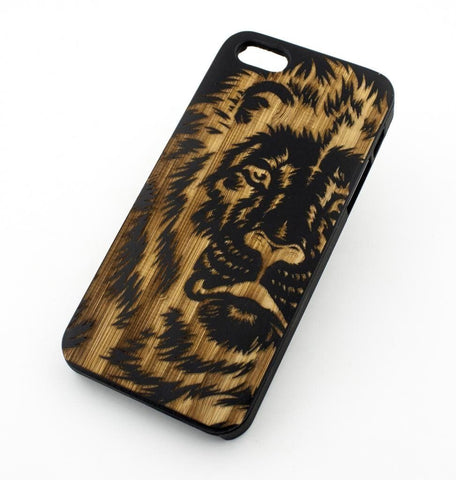 Black Bamboo Wood Case - King of the Jungle Lion