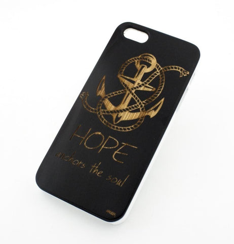Black Bamboo Wood Case - Hope Anchors the Soul