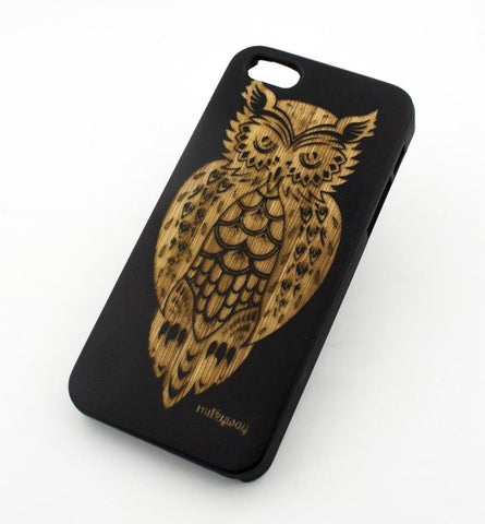 Black Bamboo Wood Case - Tribal Owl