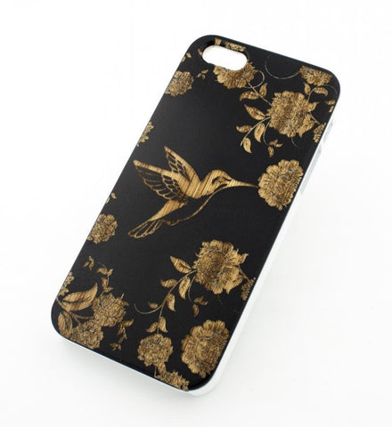 Black Bamboo Wood Case - Vintage Hummingbird