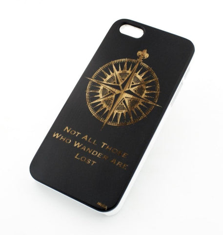 Black Bamboo Wood Case - Not All Those Who Wander Are Lost / Compass