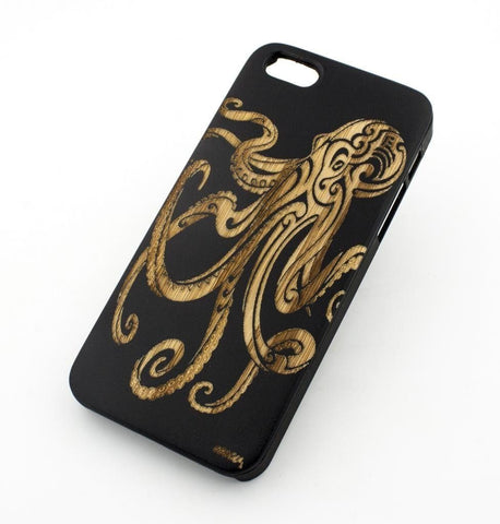 Black Bamboo Wood Case - Octopus