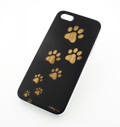 Black Bamboo Wood Case - Dog Paws