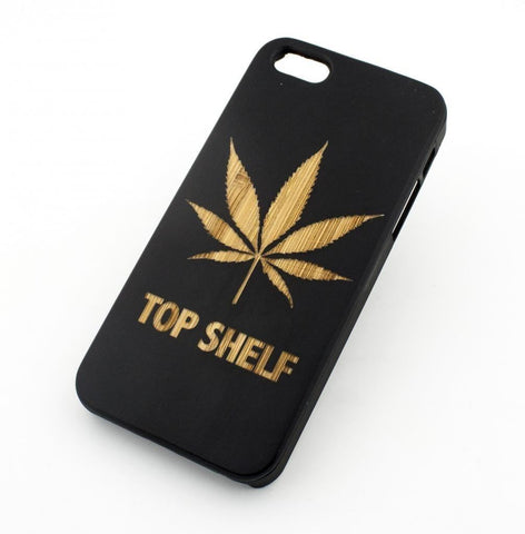 Black Bamboo Wood Case - Top Shelf Marijuana