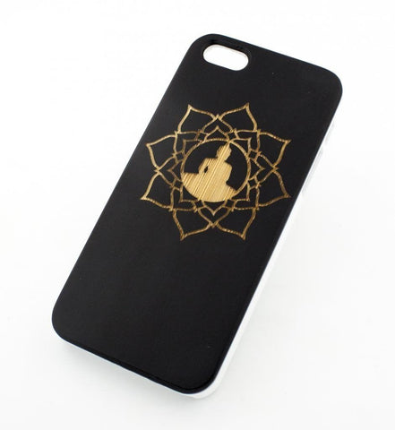 Black Bamboo Wood Case - Lotus Buddha