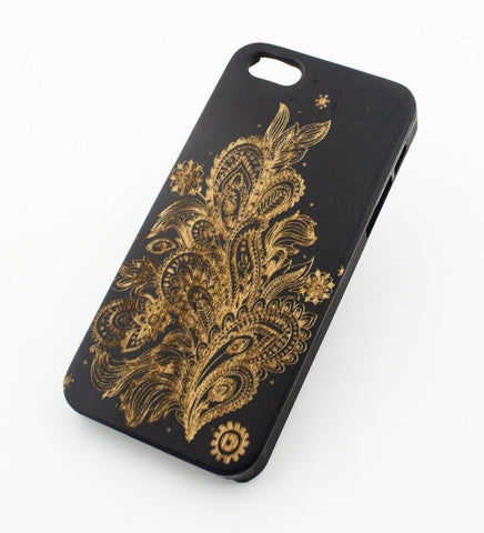 Black Bamboo Wood Case - Abstract Floral Pattern