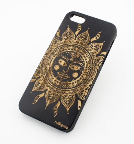 Black Bamboo Wood Case - Ethnic Tribal Sun
