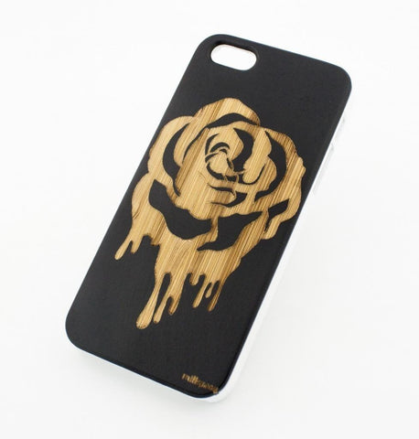 Black Bamboo Wood Case - Dripping Rose
