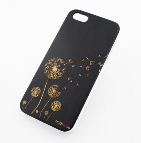Black Bamboo Wood Case - Dandelion