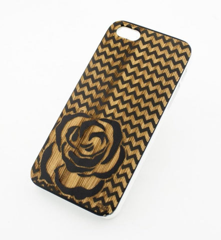 Black Bamboo Wood Case - Chevron Rose