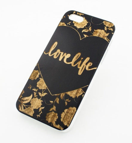 Black Bamboo Wood Case - Love Life (Floral Design w/ Heart)