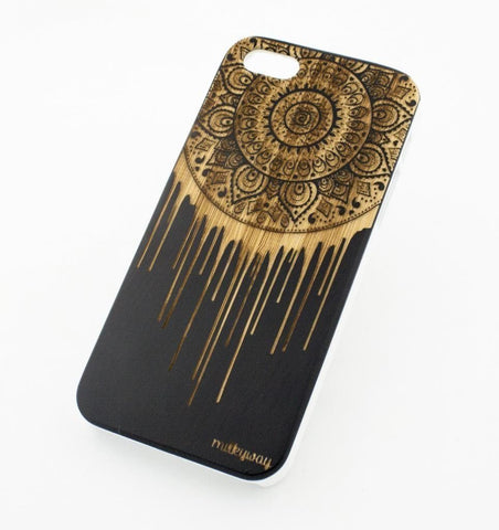Black Bamboo Wood Case - Dripping Mandala Dreamcatcher