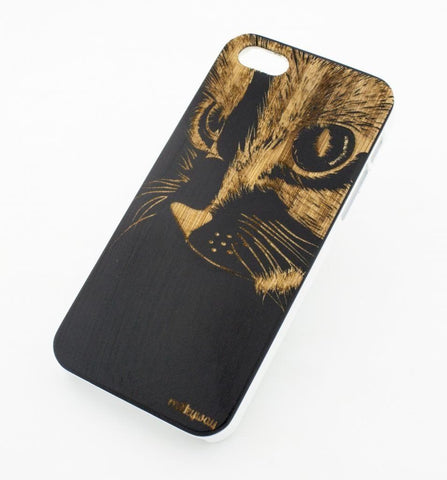 Black Bamboo Wood Case - Cat Eyes
