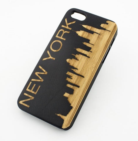 Black Bamboo Wood Case - New York City Skyline