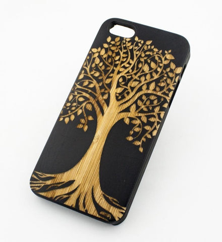 Black Bamboo Wood Case - Tree of Life