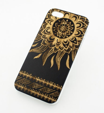 Black Bamboo Wood Case - Tribal Aztec Sun
