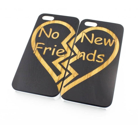 Black Bamboo Wood Case - No New Friends Matching Case Best Friends Forever