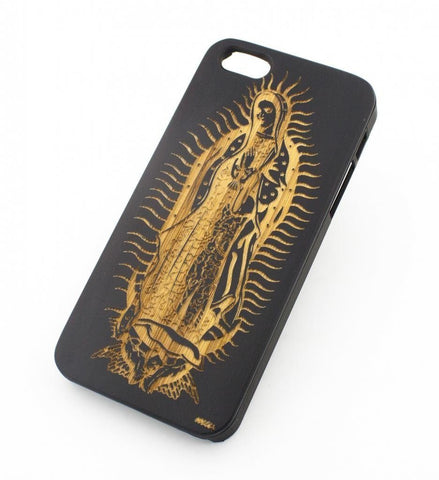 Black Bamboo Wood Case - Our Lady of Guadalupe