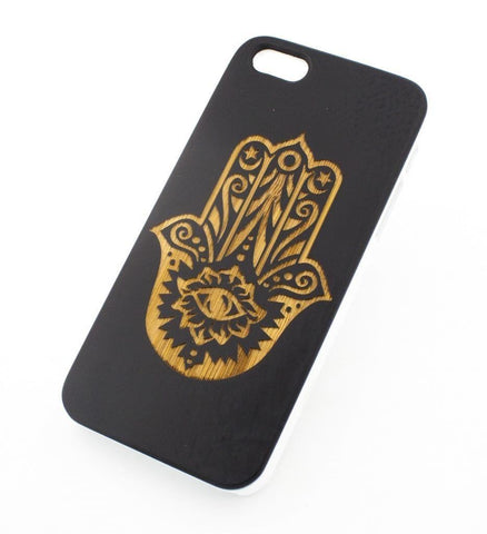 Black Bamboo Wood Case - Hamsa (Hand of Fatima)