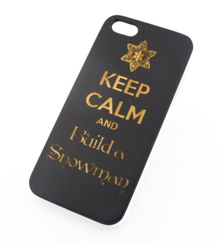 Black Bamboo Wood Case - Keep Calm and Build a Snowman