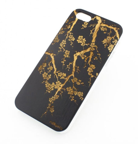 Black Bamboo Wood Case - Cherry Blossom