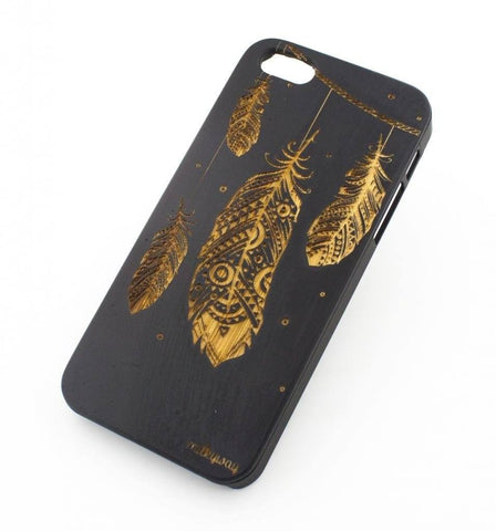 Black Bamboo Wood Case - Hanging Feathers