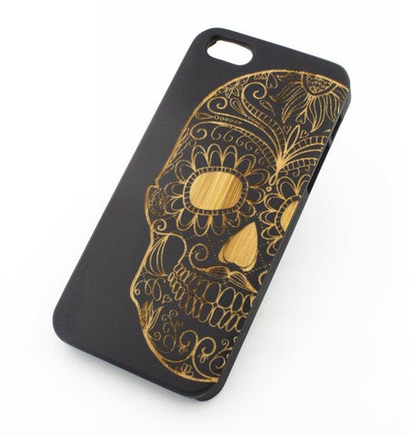 Black Bamboo Wood Case - Half Sugar Skull