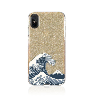 Japan Waves Glitter Hybrid Case