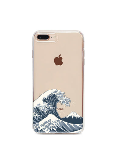 Japanese Wave - Clear TPU Case Cover - Milkyway Cases -  iPhone - Samsung - Clear Cut Silicone Phone Case Cover