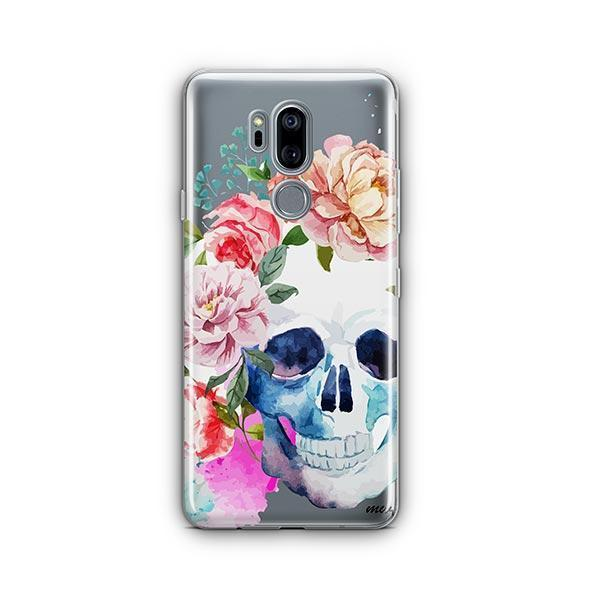 Colored Floral Skull LG G7 Thinq Case Clear