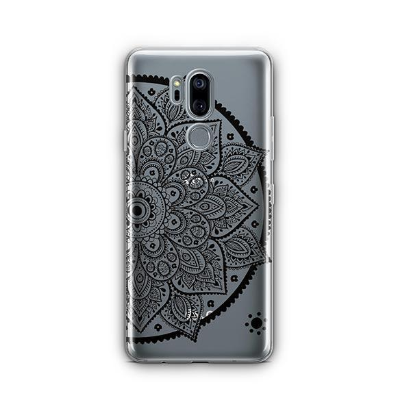 Black Henna Lotus Mandala LG G7 Thinq Case Clear