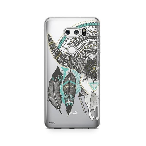 Feathered Mandala Animal Skull LG V30 Case Clear