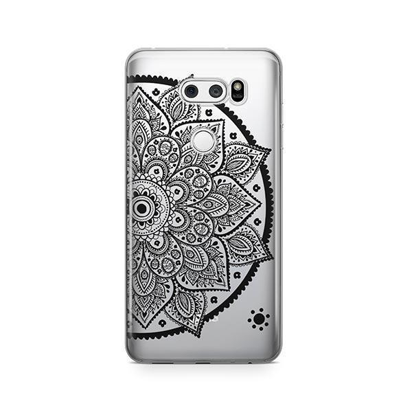 Black Henna Lotus Mandala LG V30 Case Clear