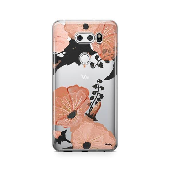 Peachy Floral LG V30 Case Clear