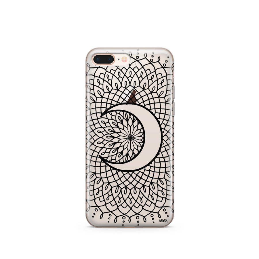 Black La Luna Mandala' (@okitssteph x @milkywaycases) - Clear Case Cover - Milkyway Cases -  iPhone - Samsung - Clear Cut Silicone Phone Case Cover
