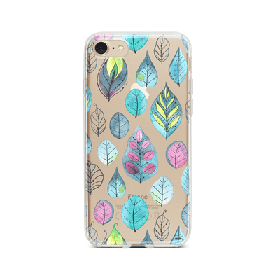 Leaves - Clear Case Cover Milkyway iPhone Samsung Clear Cute Silicone 8 Plus 7 X Cover